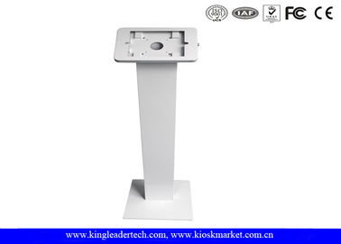 Rounded Corner Floor Tablet Kiosk Stand , 9.7 inch Ipad Kiosk Enclosure In White